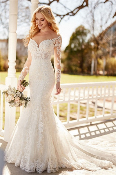 SD1153 Elegant Mermaid  Long Sleeve Lace Appliques Sheer Tulle Wedding Dress