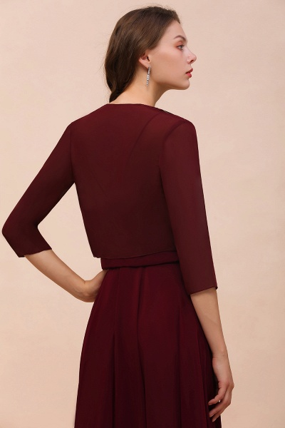 BM1892 Half Sleeves Chiffon Burgundy Special Occasion Wraps_2