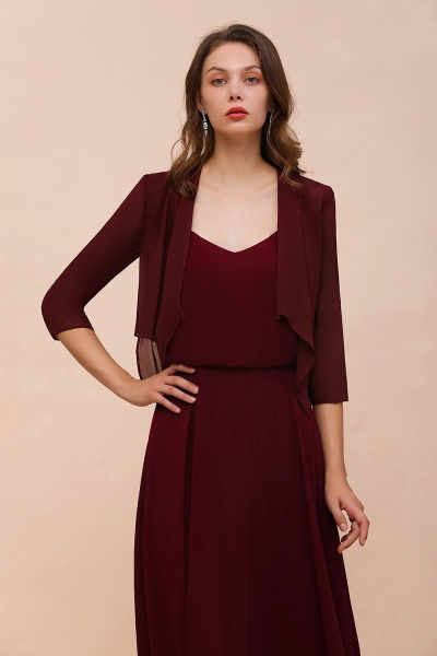 BM1892 Half Sleeves Chiffon Burgundy Special Occasion Wraps