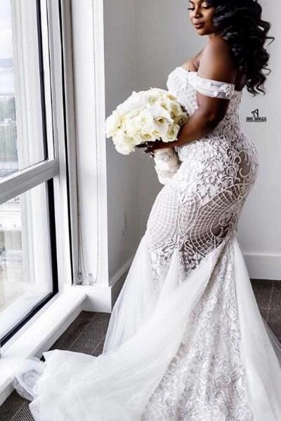 Modest Plus Size Off-the-Shoulder Mermaid Wedding Dresses_2