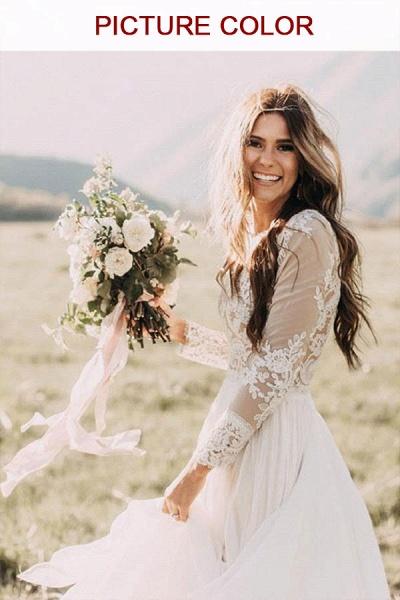 Long Sleeve Appliques Chiffon A-line Wedding Dress_1
