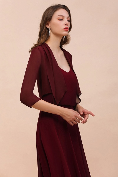 BM1892 Half Sleeves Chiffon Burgundy Special Occasion Wraps_5