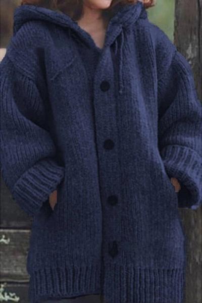 Women Long Cardigan Solid Hooded Sweater_2
