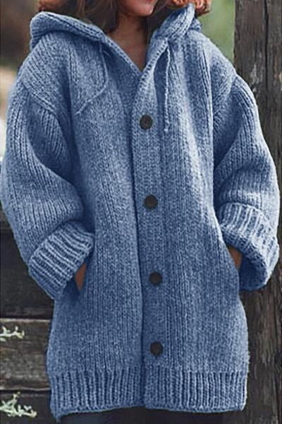 Women Long Cardigan Solid Hooded Sweater_1