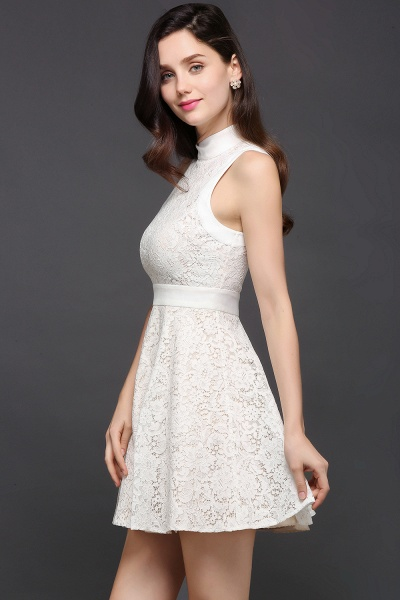 Princess High neck Knee-length White Cute Homecoming Dress_3