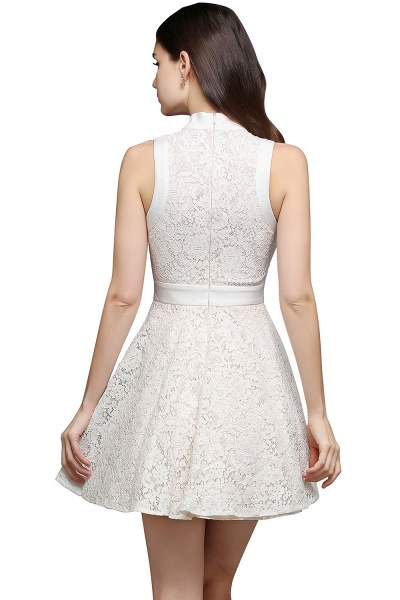Princess High neck Knee-length White Cute Homecoming Dress_4