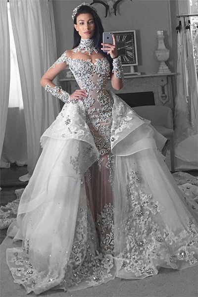 Glamorous Long Sleeves Tulle High Neck Appliques Wedding Dresses with Detachable Overskirt_2