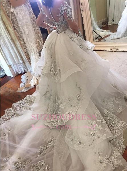 Glamorous Long Sleeves Tulle High Neck Appliques Wedding Dresses with Detachable Overskirt_1