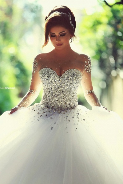 Luxury Long Sleeves Crystals Beading Ball Gown Wedding Dresses_1