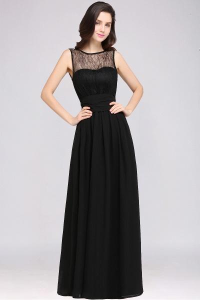 A-Line Chiffon Lace Jewel Sleeveless Keyhole Floor-Length Bridesmaid Dresses_1