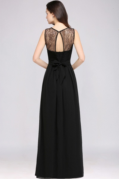 A-Line Chiffon Lace Jewel Sleeveless Keyhole Floor-Length Bridesmaid Dresses_2