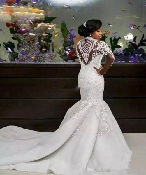 Gorgeous Mermaid Beads Lace Appliques High Neck Wedding Dress_3