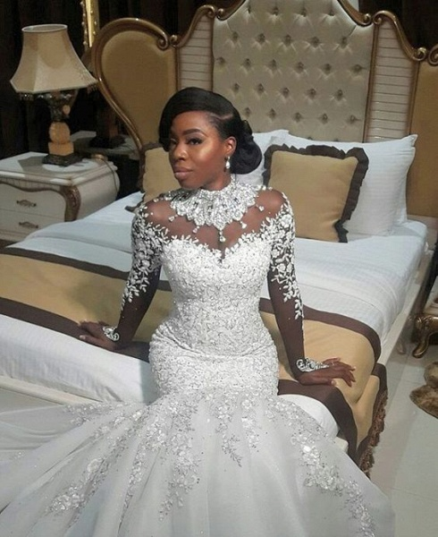 Gorgeous Mermaid Beads Lace Appliques High Neck Wedding Dress