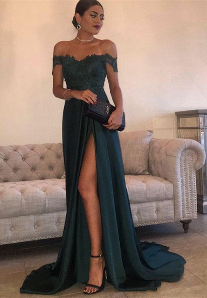 THERESA | A-line Floor Length Split Off-the-Shoulder Lace Prom Dresses_1