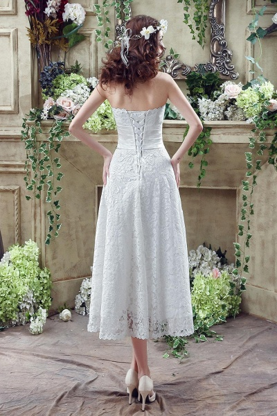 Sweetheart Lace Wedding Dress Ankle Length Empire Bridal Gown_3