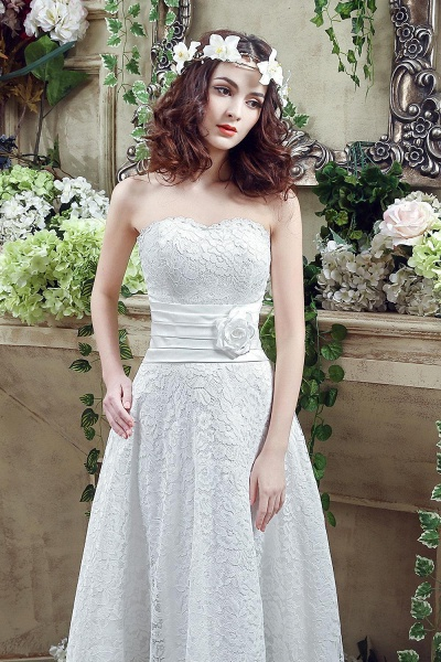 Sweetheart Lace Wedding Dress Ankle Length Empire Bridal Gown_4