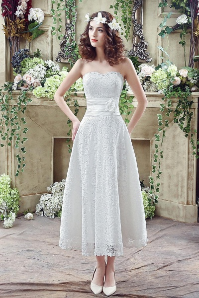 Sweetheart Lace Wedding Dress Ankle Length Empire Bridal Gown_2