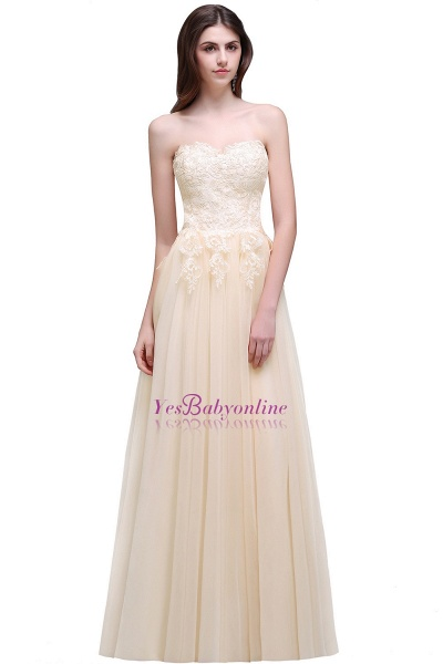 Aline Floor Length Tulle Prom Dress With Appliques_7