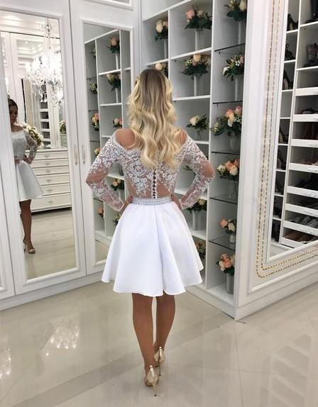 Short A Line White Lace Long Sleeves Chiffon Prom Dresses_2