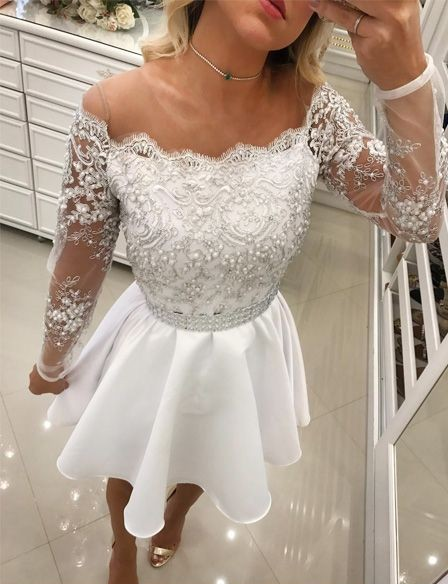 Short A Line White Lace Long Sleeves Chiffon Prom Dresses