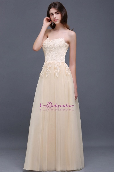 Aline Floor Length Tulle Prom Dress With Appliques_6