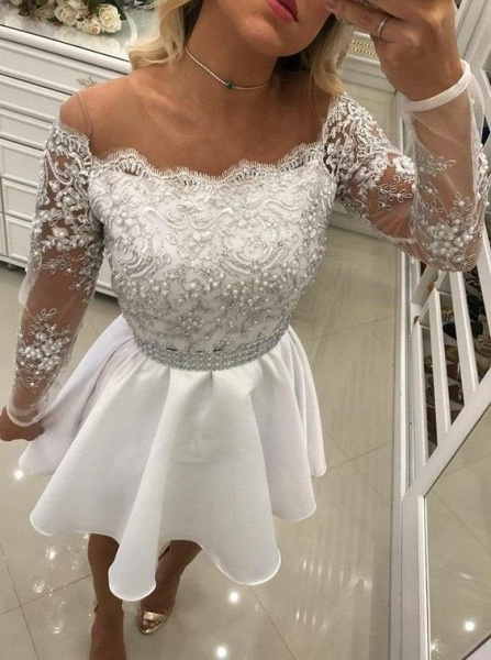 Short A Line White Lace Long Sleeves Chiffon Prom Dresses_3