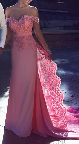 Chic Long A-Line Off-the-Shoulder Lace Prom Dresses_2