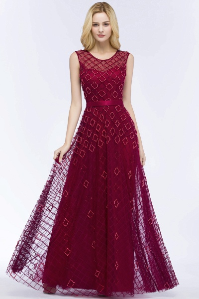 Beading A-Line Scoop Sleeveless Long Evening Dress