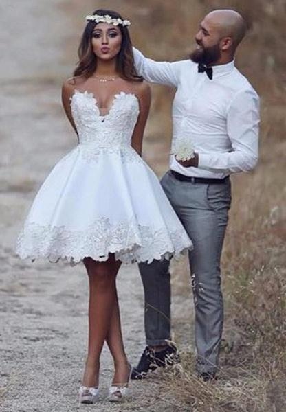 Elegant Short A-line Sweetheart Appliques Lace Prom Dresses