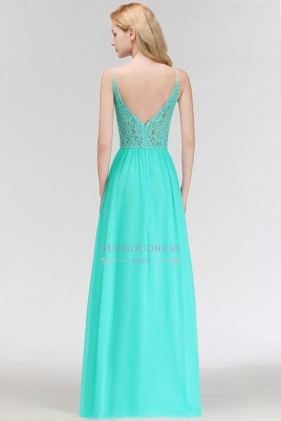 Lace A-line Keyhole Neckline Long Spaghetti Bridesmaid Dresses_3