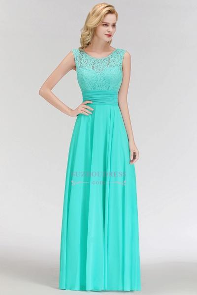 A-line Lace Top Sleeveless Chiffon Floor Length Bridesmaid Dress_5