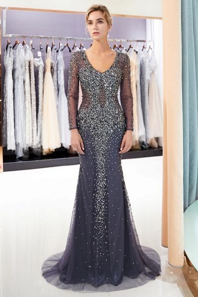 Excellent V-neck Tulle Mermaid Prom Dress_1
