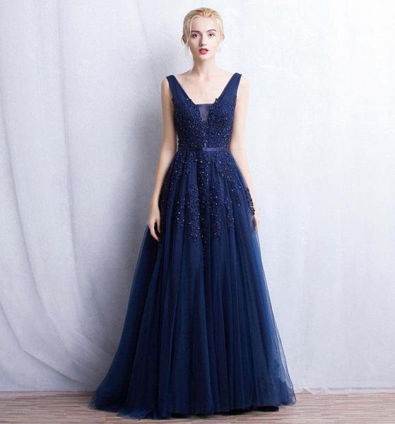 Fabulous V-neck Tulle A-line Evening Dress_7