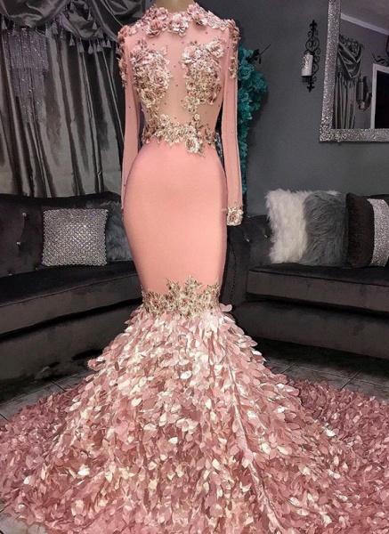 Excellent Jewel Flower(s) Mermaid Prom Dress_1