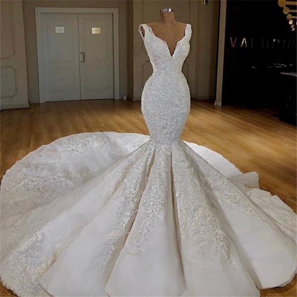 Strap Mermaid Lace Long Train Wedding Dress_2