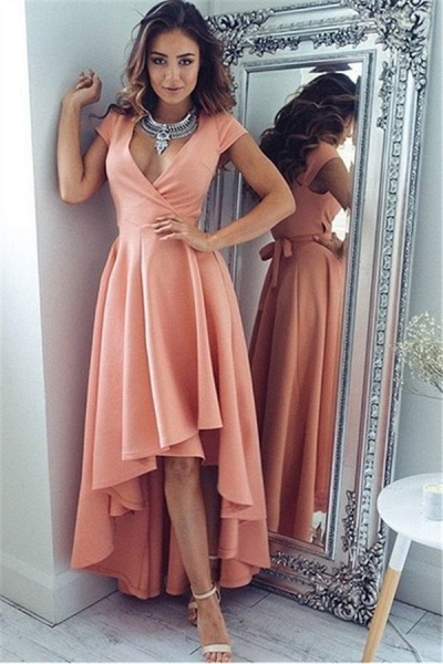 High Low A-line V-neck Prom Dresses With Sleeves