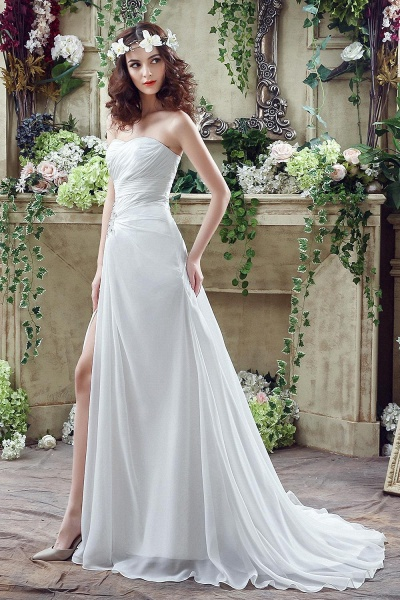 Chiffon Sweetheart Side Split Wedding Dress_3