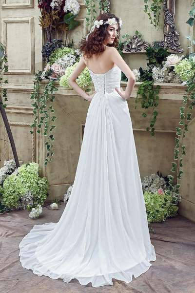Chiffon Sweetheart Side Split Wedding Dress_4