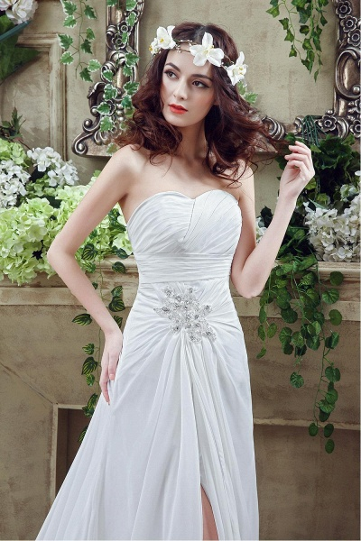 Chiffon Sweetheart Side Split Wedding Dress_5