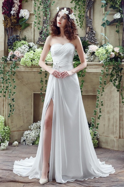 Chiffon Sweetheart Side Split Wedding Dress_2