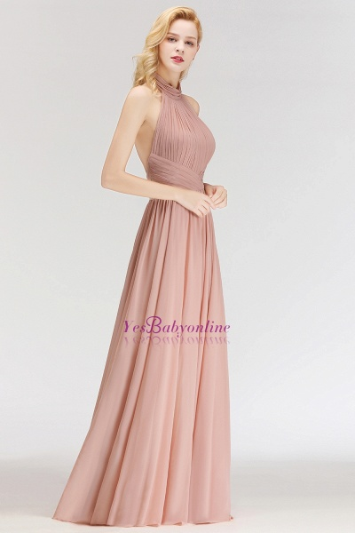 A-line Halter Ruffled Chiffon Floor Length Bridesmaid Dress_4