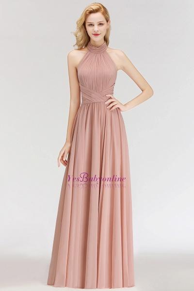 A-line Halter Ruffled Chiffon Floor Length Bridesmaid Dress_6