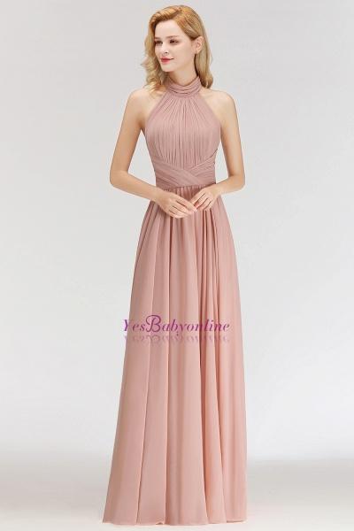 A-line Halter Ruffled Chiffon Floor Length Bridesmaid Dress_5