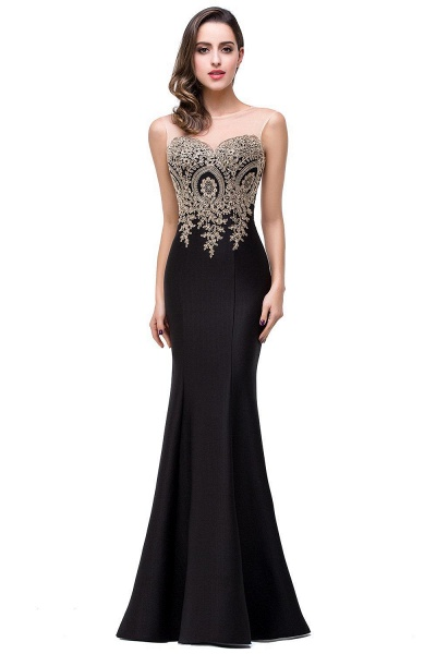 Mermaid Floor-Length Sheer Prom Dresses with Rhinestone Appliques_14