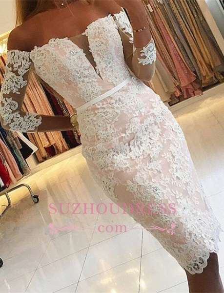 Sheath Short Off The Shoulder Lace Prom Dresses with Sleeves