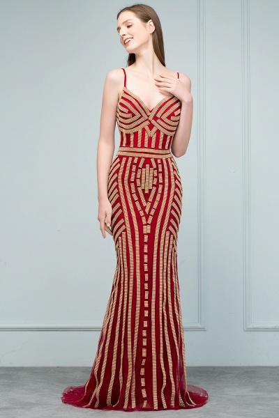 Spaghetti Straps V-neck Mermaid Prom Dresses_6