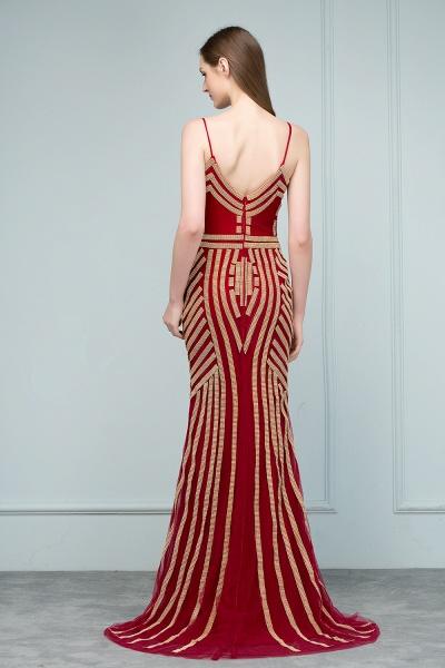 Spaghetti Straps V-neck Mermaid Prom Dresses_4