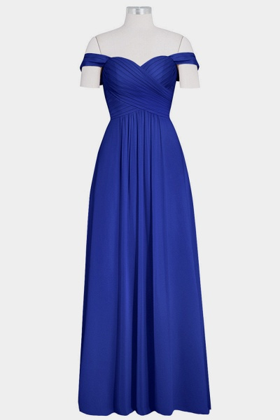 Ruffle Chiffon Floor Length A-line Bridesmaid Dress