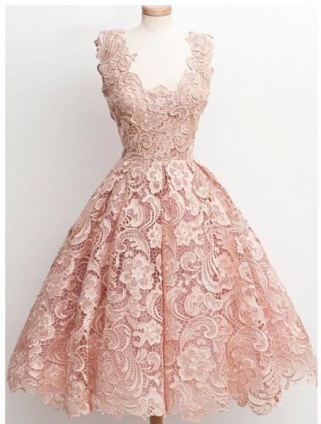 Short A-line V-neck Lace Knee Length Prom Dresses_1