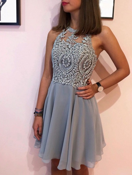 Short A-line Halter Neck Silver Prom Dresses with lace